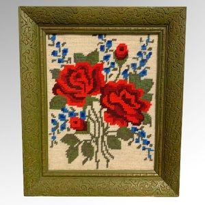 Completed Needlepoint Flowers Red Roses